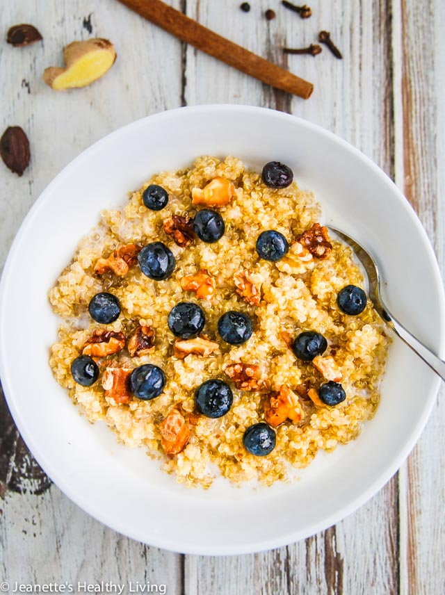 Chai Spiced Quinoa Porridge - scented with cinnamon, cloves, cardamon, ginger and black pepper