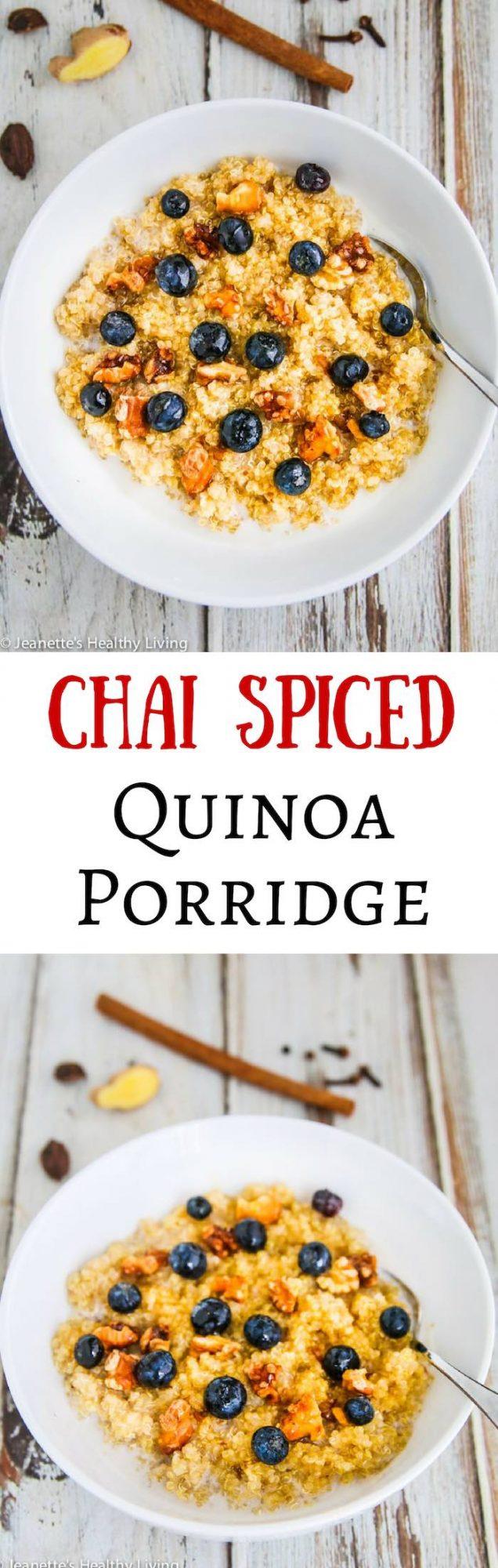 Chai Spiced Quinoa Porridge - scented with cinnamon, cloves, cardamon, ginger and black pepper