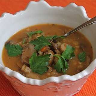 Mushroom Barley Soup ~ https://jeanetteshealthyliving.com