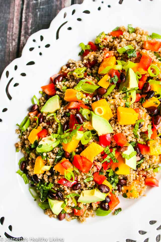 Mango Avocado Black Bean Quinoa Salad - this beautiful healthy salad is perfect for entertaining