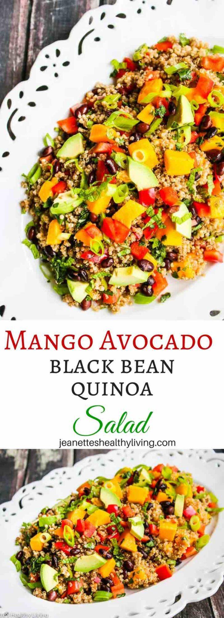 Mango Avocado Black Bean Quinoa Salad - this beautiful healthy salad is perfect for entertaining
