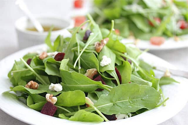 Arugula and Roasted Beet Goat Cheese Salad with Lemon Dressing