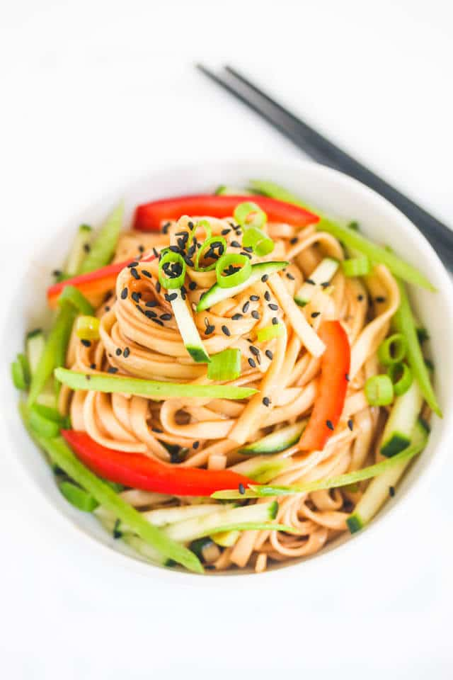 Cold Chinese Sesame Noodles - I've been making this recipe for years and it's always a big hit. Great for parties! ~ https://jeanetteshealthyliving.com