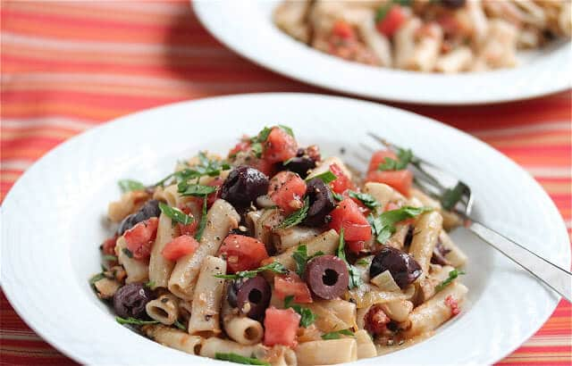Penne with Tuna Plum Tomatoes and Black Olives Recipe
