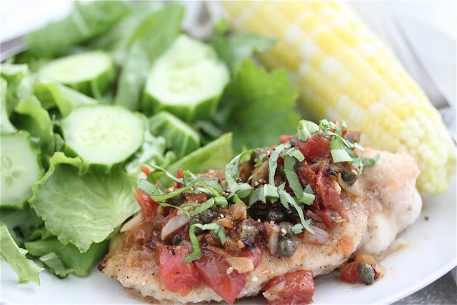 Chicken Breast with Capers Tomatoes Basil