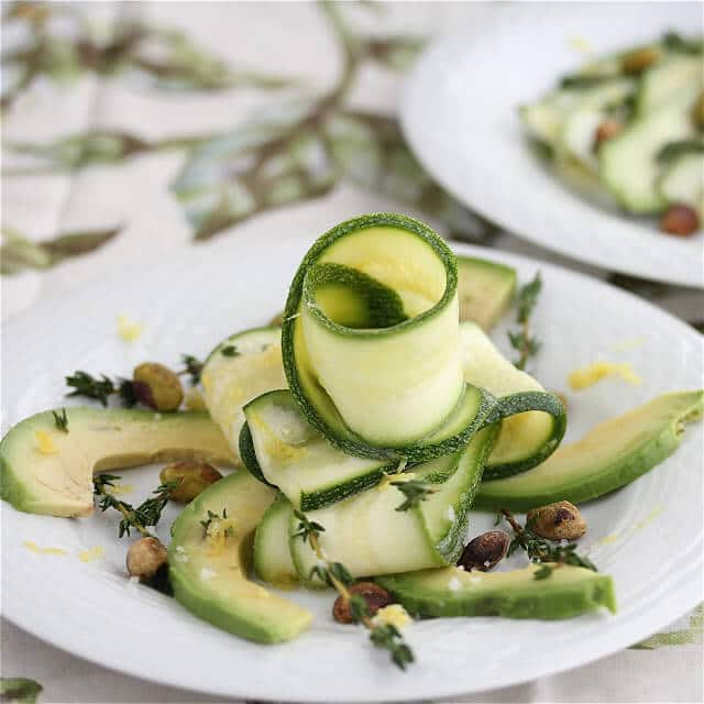 Zucchini Carpaccio Salad with Avocado Pistachios and Pistachio Oil
