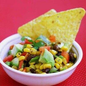 Roasted Corn Avocado Black Bean Salsa