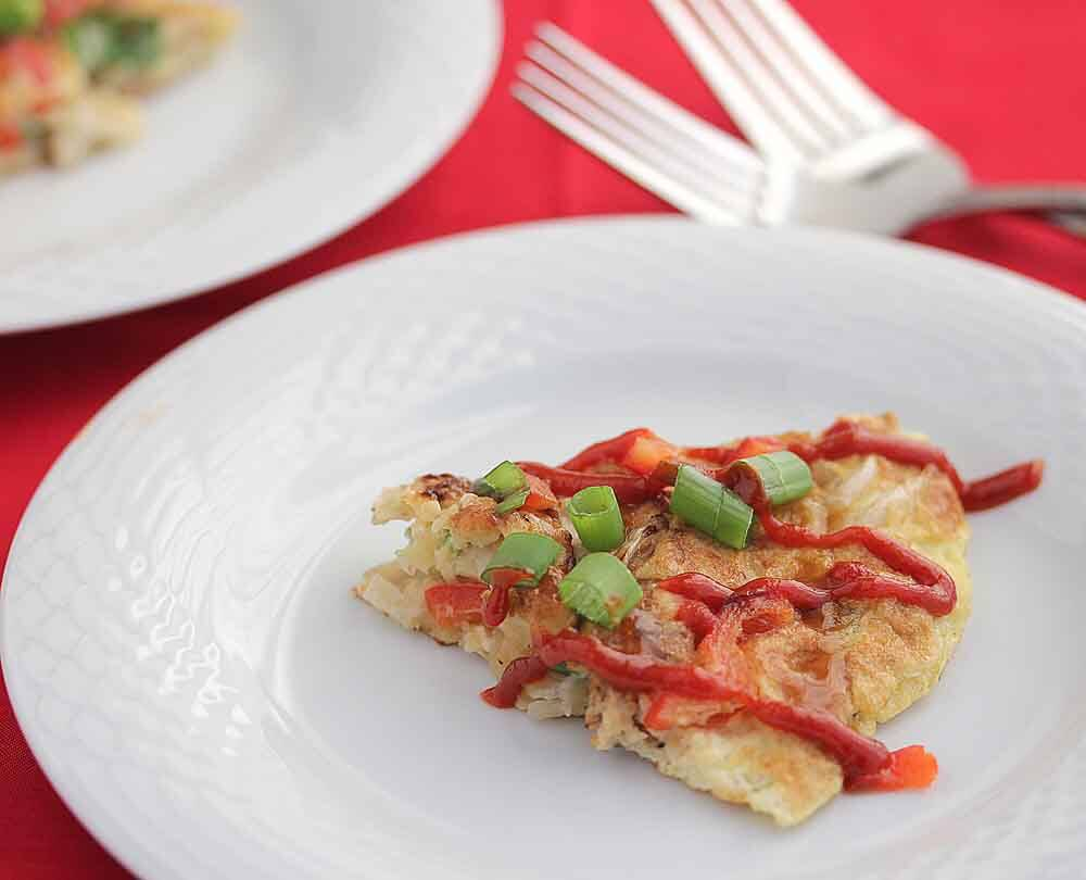 Asian Fusion Omelette Frittata with Gochujang Sauce