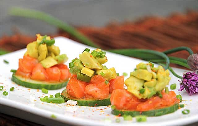 Soy Sesame Salmon Tartare with Avocado served on Cucumber Rounds