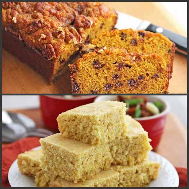Pumpkin Chocolate Chip Bread and Cornbread made with Gluten-Free Baking Mixes