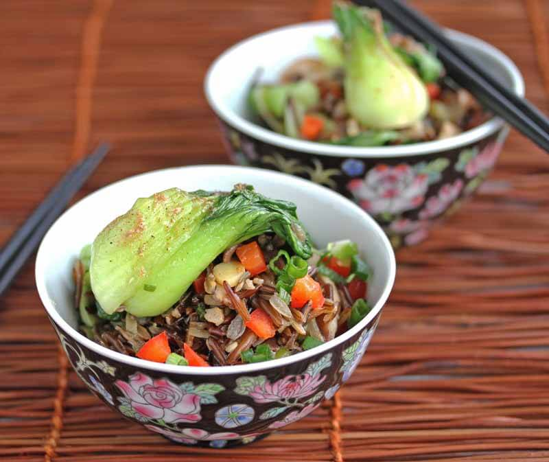 Stir-Fried Wild Rice with Mushrooms - healthy, delicious, vegetarian fried rice packed with vegetables, and served with Szechwan pepper salt