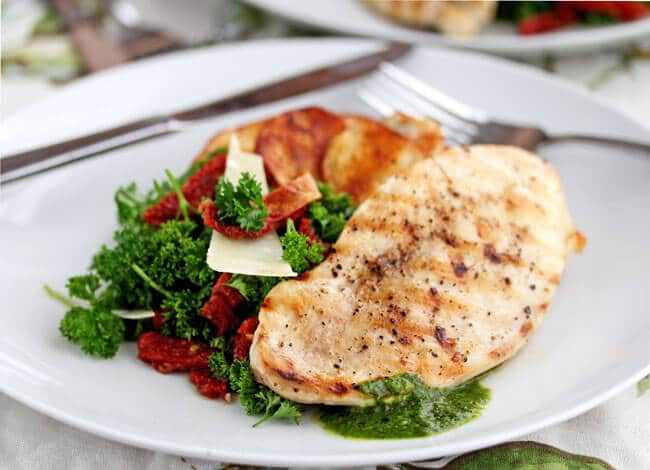 Grilled Chicken with Parsley Salad and Sun-Dried Tomatoes Recipe