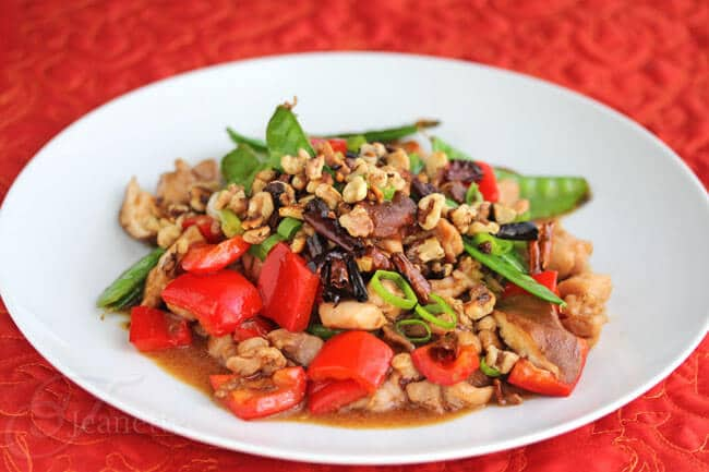 Stir-Fry Spicy Kung Pao Chicken with Fresh Vegetables and Walnuts