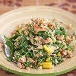 Chopped Salmon Arugula Walnut Salad with Honey Wasabi Vinaigrette