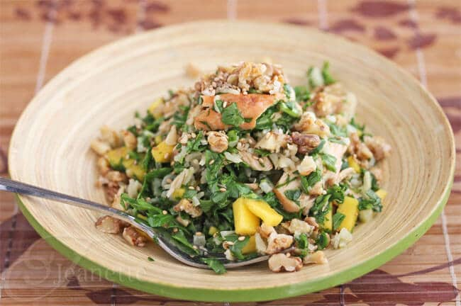 Chopped Salmon Arugula Walnut Salad with Honey Wasabi Vinaigrette