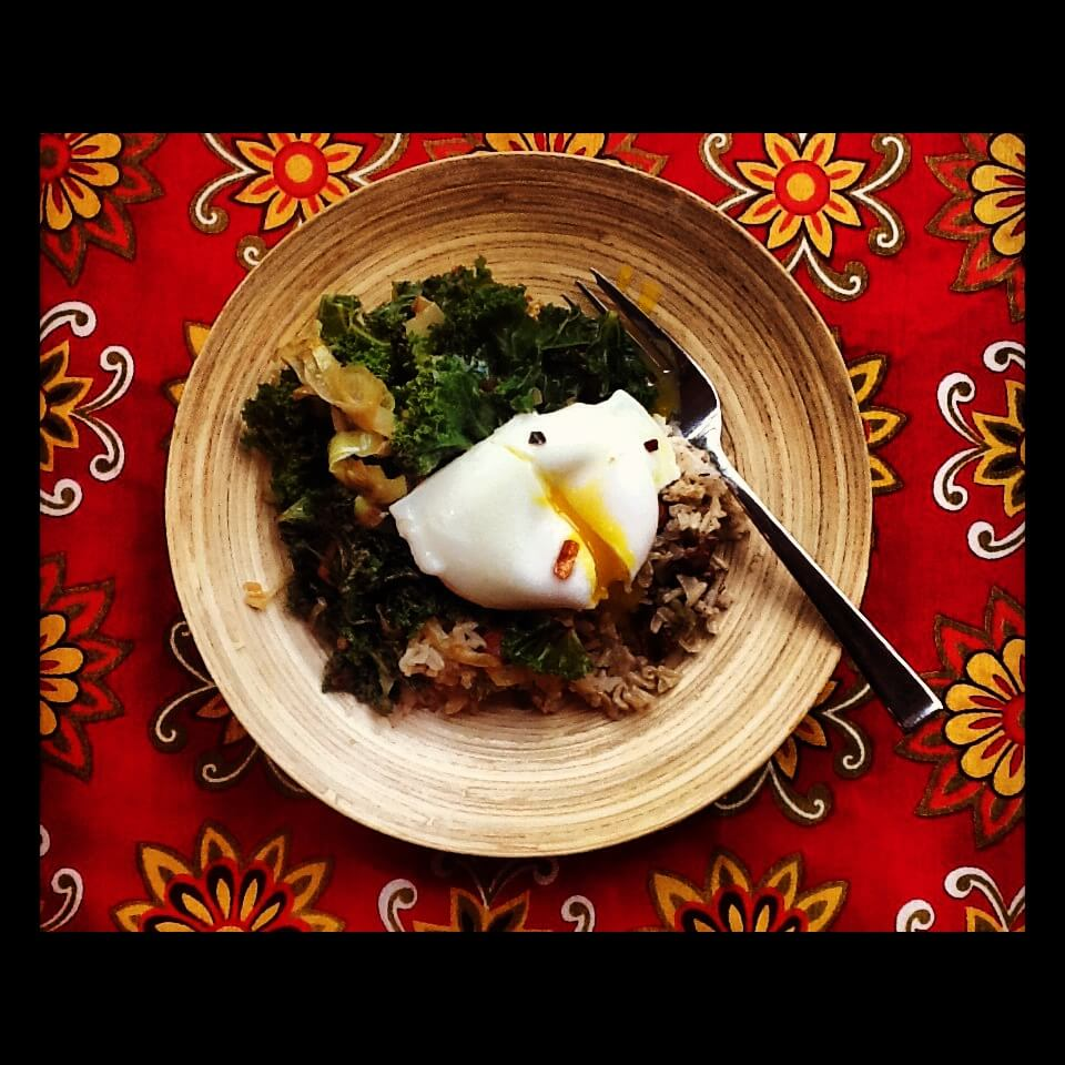 Sauteed Kale and Poached Egg for Breakfast