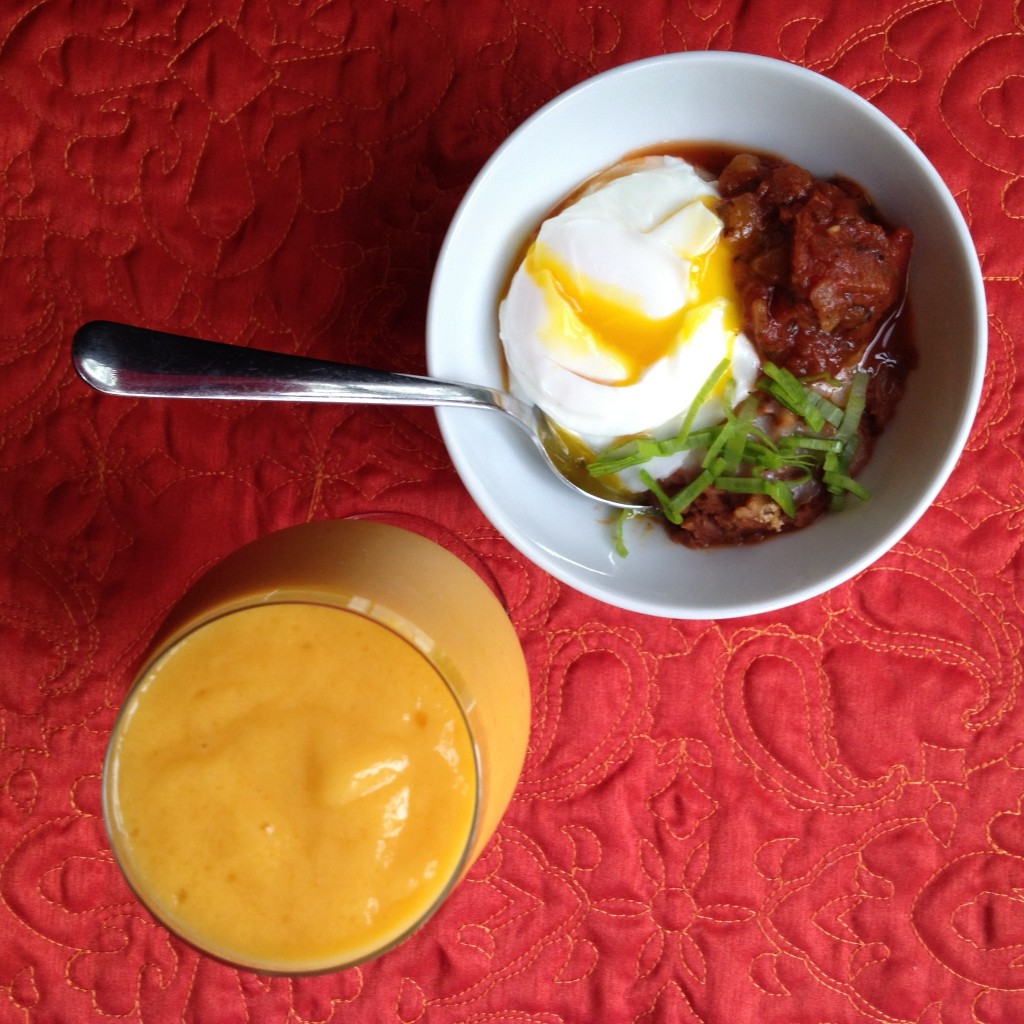 Vegetarian Refried Beans with Poached Egg and Mango Smoothie for Breakfast