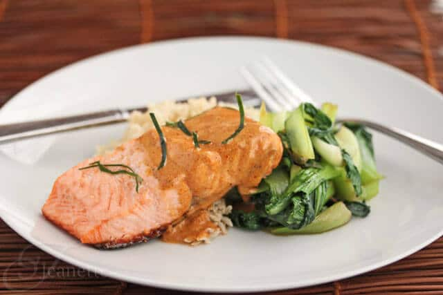 Salmon with Thai Coconut Curry Sauce served with Steamed Brown Rice and Stir-Fry Baby Bok Choy