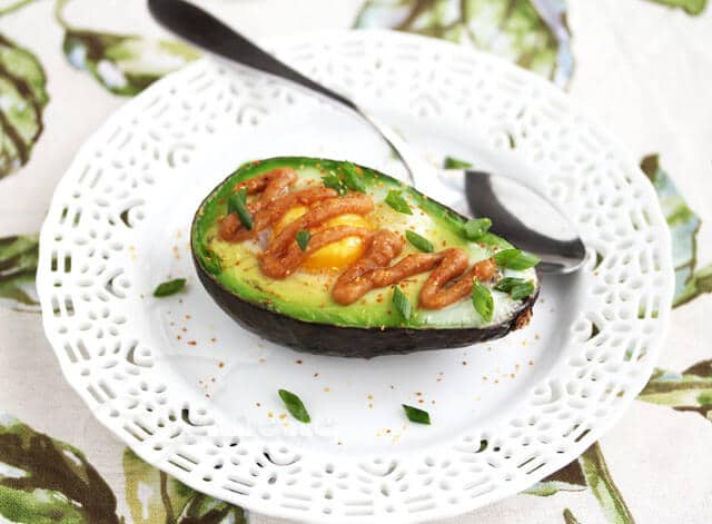 "Baked Avocado and Egg with Miso ""Butter"" Recipe (Power Food)"