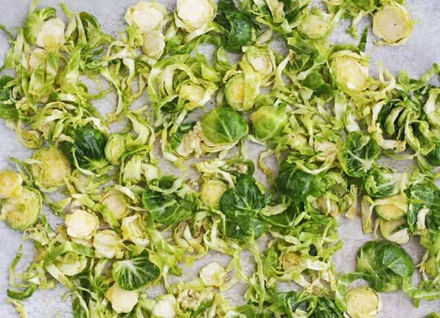 Brussels Sprout Chips before Roasting