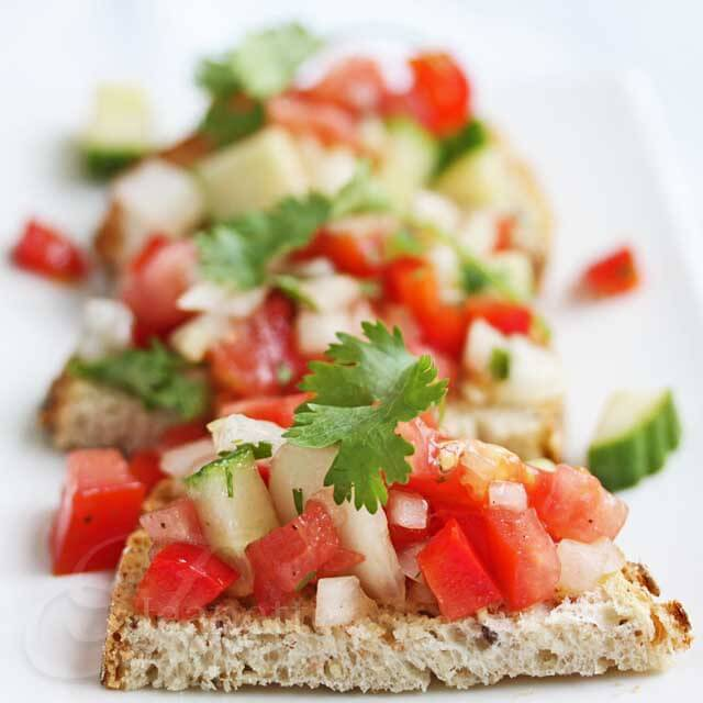 Gazpacho Salsa on Whole Grain Toast Rubbed with Garlic