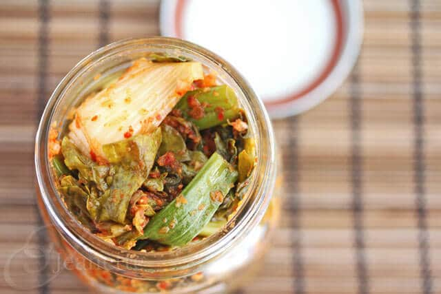 Kale Kimchi in a Jar © Jeanette's Healthy Living