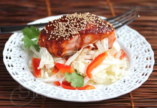 Spicy Korean Salmon with Napa Cabbage Salad © Jeanette's Healthy Living