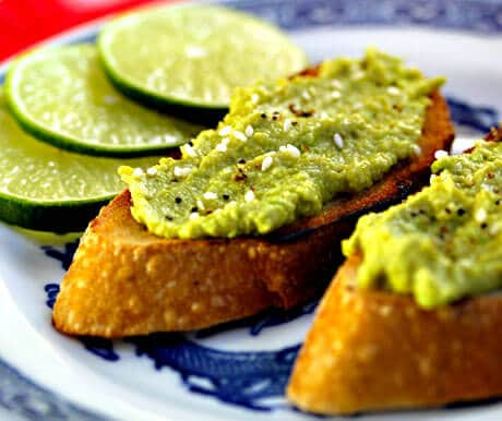 Avocado and Edamame Spread on Toast from The Perfect Pantry