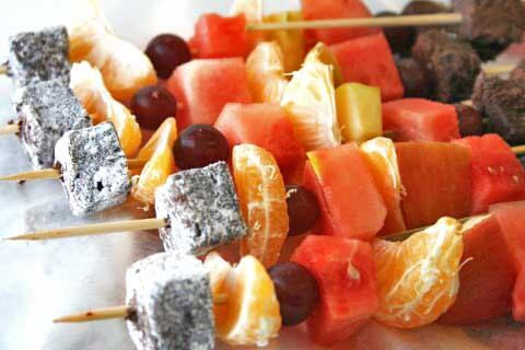Fruit Kebabs from Shockingly Delicious