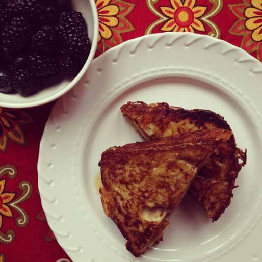 Stuffed French Toast with Peanut Butter and Bananas, and a bowl of Blackberries