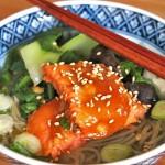 Honey Miso Glazed Salmon Soba Noodle Soup