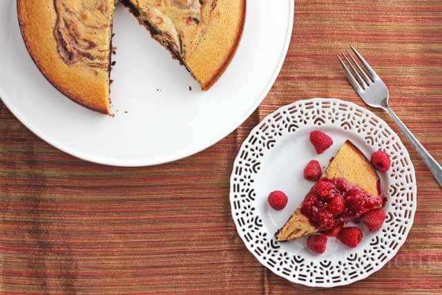 Pumpkin Spice Coffee Chocolate Marble Cake with Raspberry Sauce