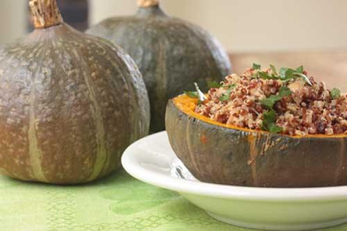 Stuffed Kabocha Squash with Quinoa and Chickpeas