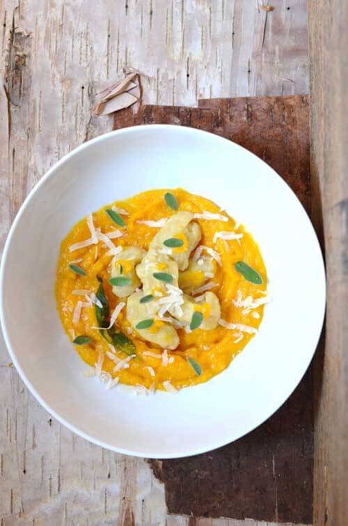 Sage, Garlic and Butternut Squash Puree with Gnocchi