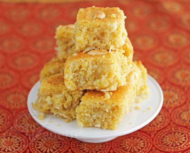 "Gluten-Free Coconut ""Semolina"" Cake (Edible Mosaic)"