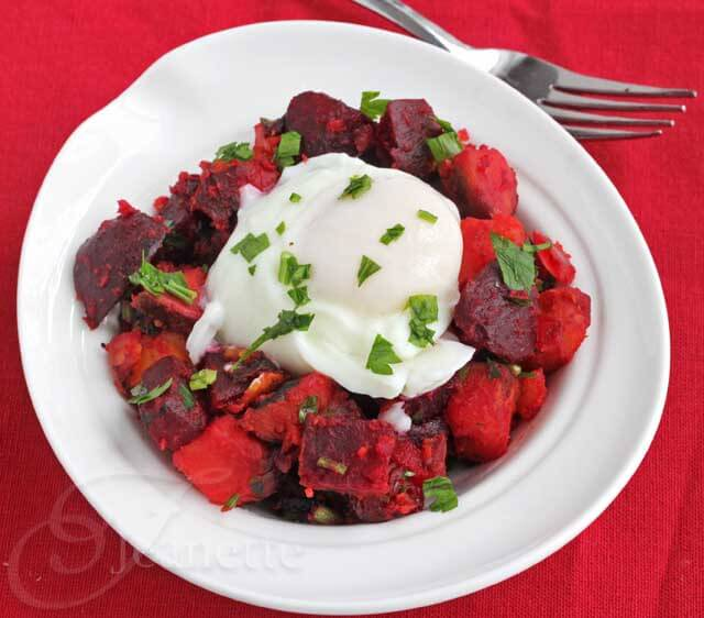 Roasted Beet Sweet Potato Hash with Poached Egg