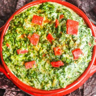 Skinny Hot Spinach Dip - this healthy dip is high in protein and great for an after-school snack or party