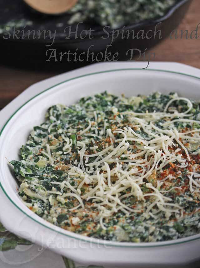 Skinny Hot Spinach and Artichoke Dip © Jeanette's Healthy Living