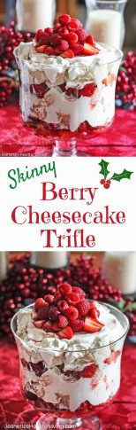 Skinny Berry Cheesecake Trifle - light delicious holiday dessert - a crowd pleaser