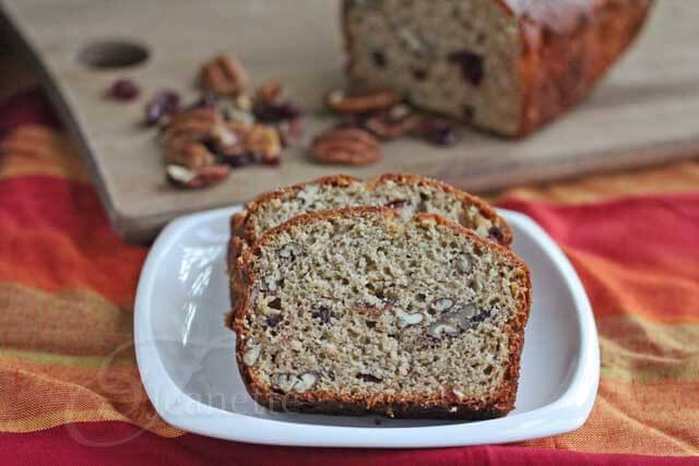 Banana Pecan Cranberry Bread © Jeanette's Healthy Living