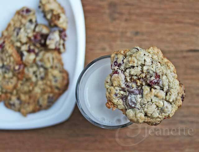 Gluten-Free Chocolate Cranberry Walnut Cookies © Jeanette's Healthy Living