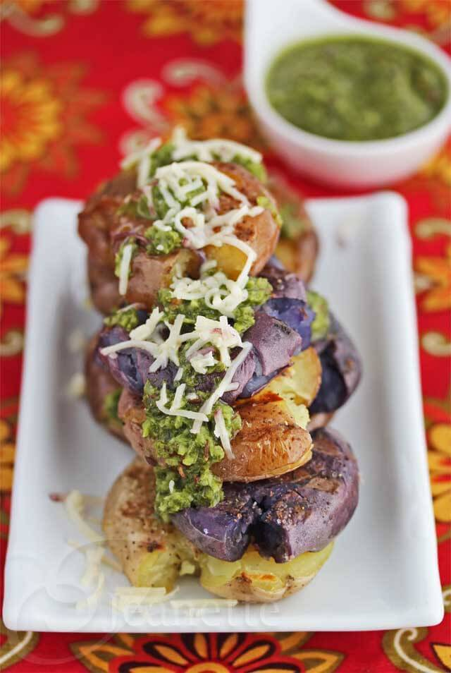 Grilled Potatoes with Green Harissa Sauce © Jeanette's Healthy Living