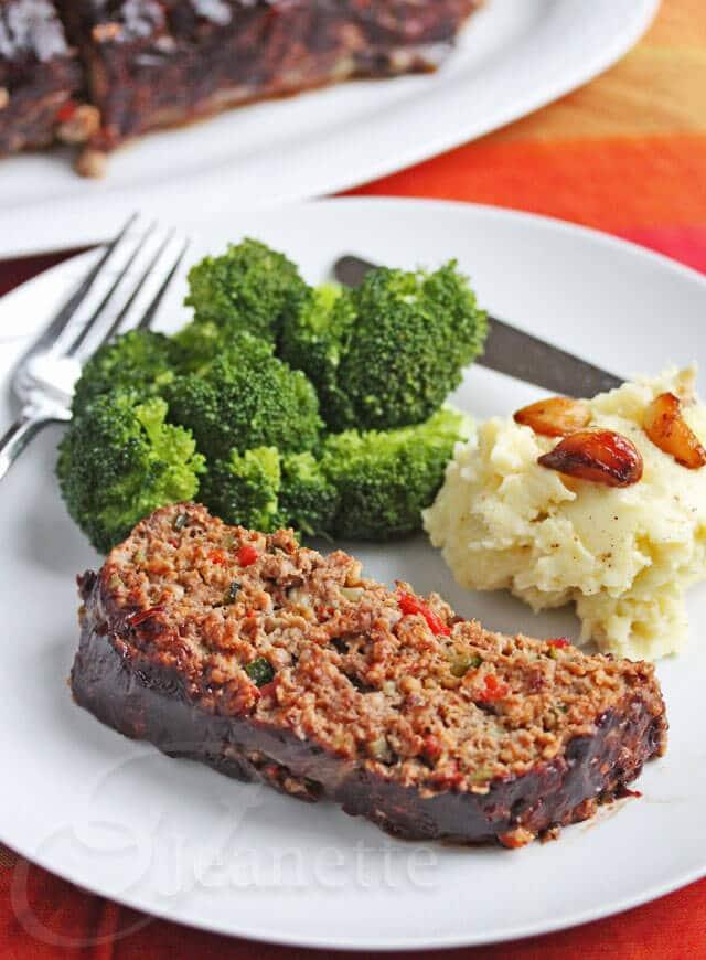 Roasted Vegetable Meatloaf Dinner © Jeanette's Healthy Living