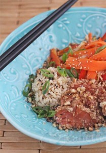 Walnut Crusted Seared Wasabi Salmon © Jeanette's Healthy Living