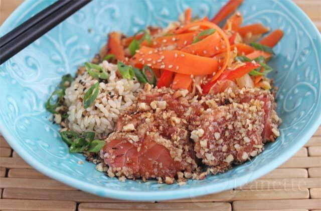 20+ Heart Healthy Recipes and Walnut Crusted Seared Wasabi Salmon with Warm Napa Cabbage Salad Recipe {Gluten-Free and Heart Healthy 2013}