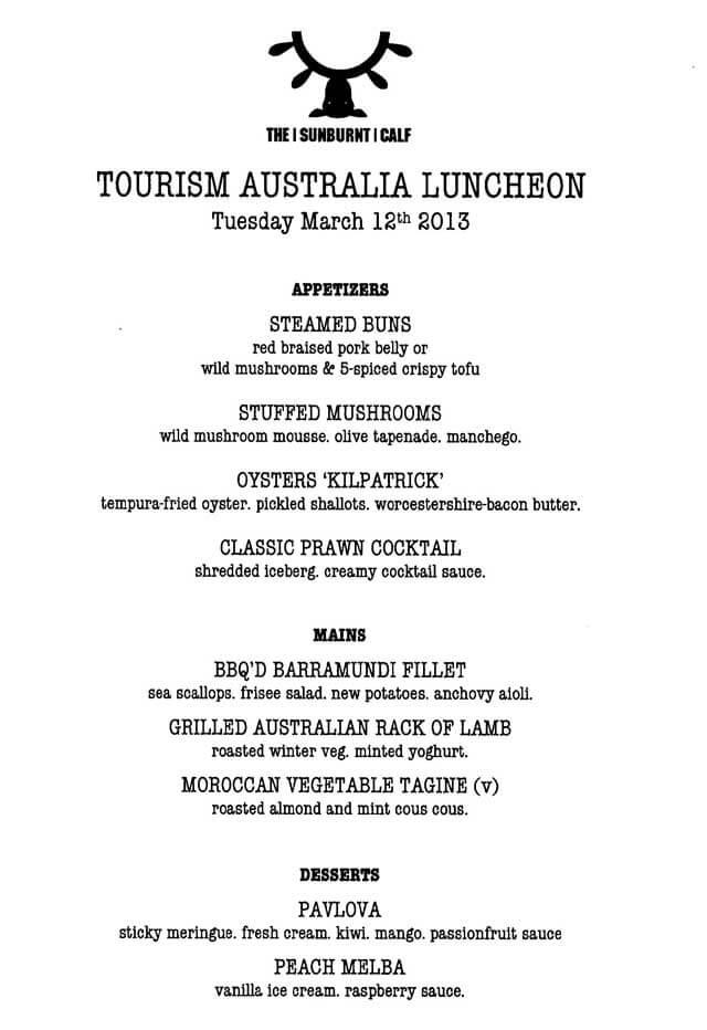 Aussie Food Event Menu
