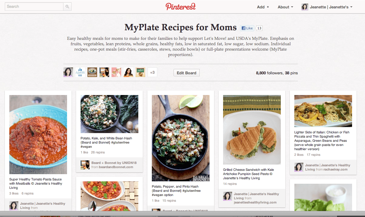 MyPlate for Moms Pinterest Board © Jeanette's Healthy Living