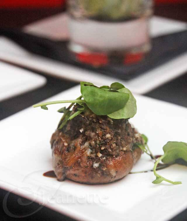 Stuffed Mushroom with Olive Tapenade, Manchego, Wild Mushroom Mousse © Jeanette's Healthy Living