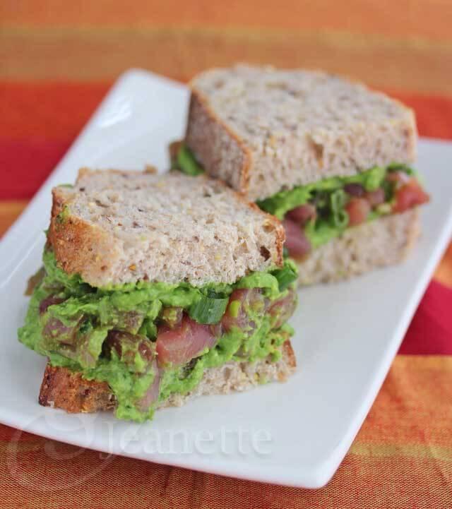 Ahi Tuna Spinach Avocado Pesto Sandwich © Jeanette's Healthy Living