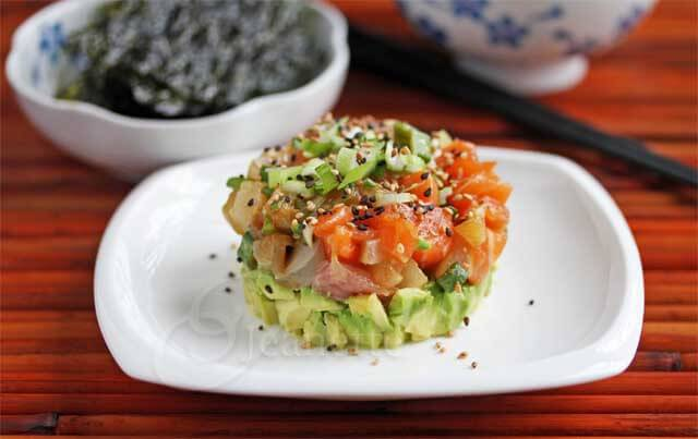 Mixed Fish and Avocado Poke Tower © Jeanette's Healthy Living